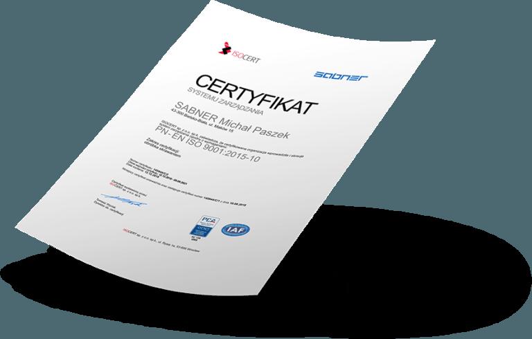 Certyfikat ISO Sabner